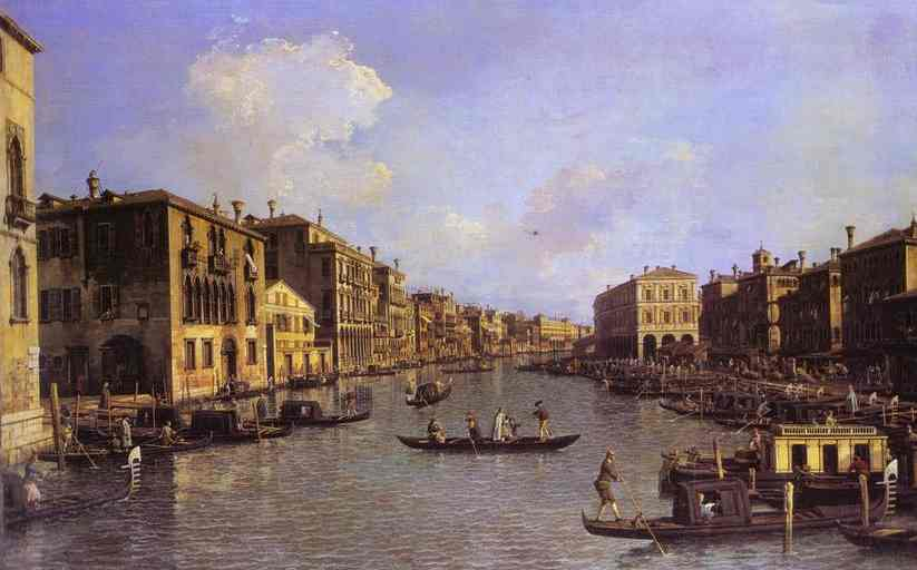 Oil painting:Grand Canal: Looking South-East from the Campo Santo Sophia to the Rialto Bridge. c.