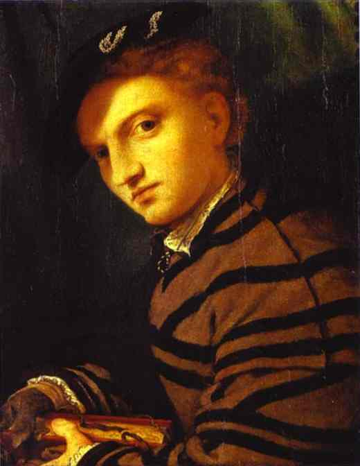 Oil painting:Portrait of a Young Man with a Book. c. 1526