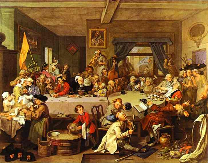 Oil painting:An Election Entertainment. 1755