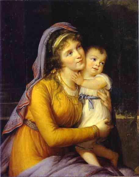Oil painting:Baroness Anna Sergeevna Stroganova and Her Son Sergey. 1793