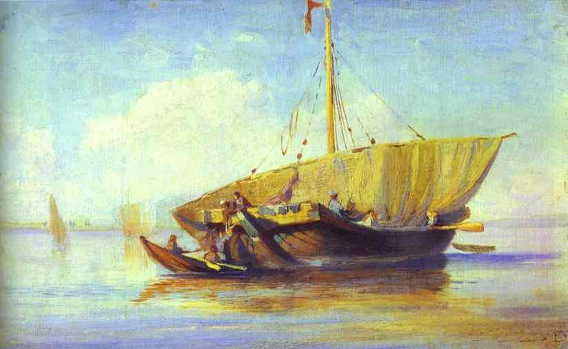 Oil painting:Boat. 1870