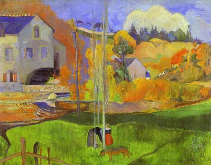 Oil painting:Breton Landscape (The Moulin David). 1894