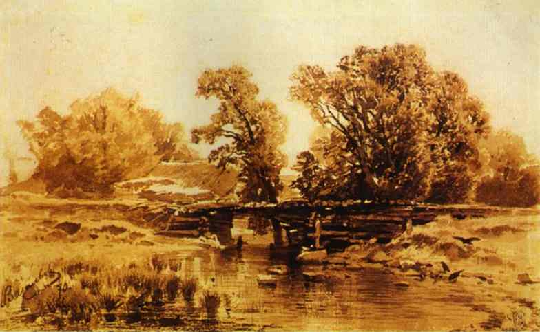 Oil painting:Bridge over a Brook. 1870