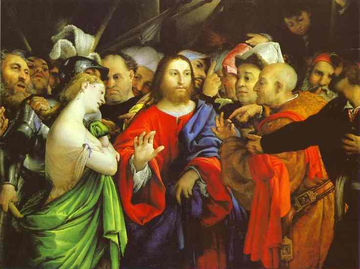 Oil painting:Christ and the Adulteress. c. 1530