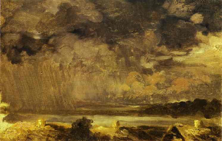 Oil painting:Clouds. The Village of Krestinskoye. 1867