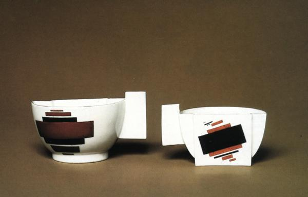 Oil painting:Cups Suprematism. Porcelain.