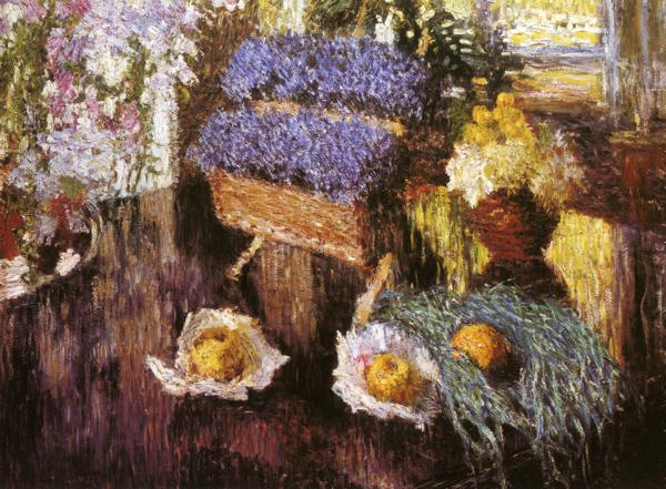 Oil painting:Flowers and Fruits on Grand-Piano. 1904
