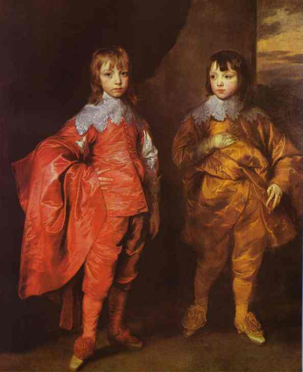 Oil painting:George Villiers, 2nd Duke of Buckingham and His Brother Lord Francis Villiers. 1635