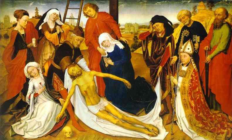 Oil painting:Lamentation. c.1460
