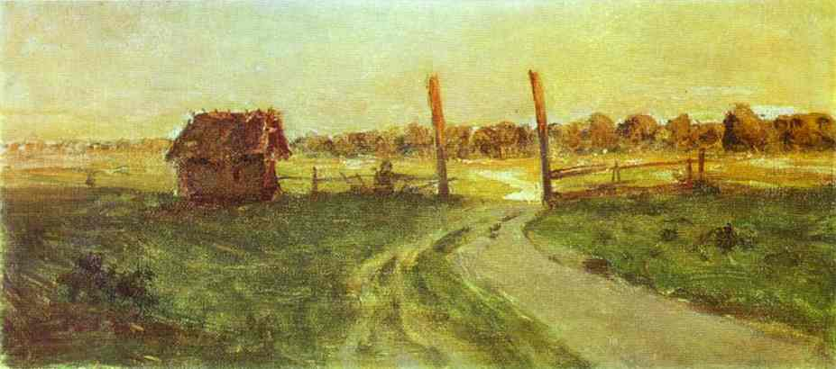 Oil painting:Landscape with an Izba. Sketch. 1899