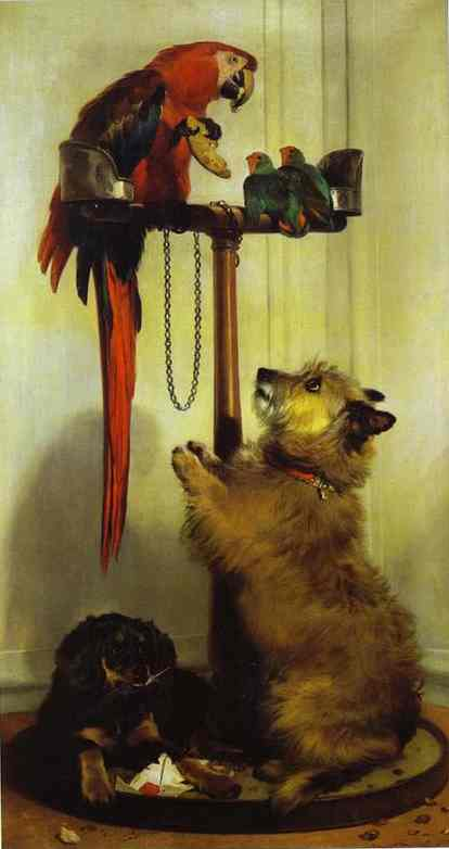 Oil painting:Macaw, Love Birds, Terrier, and Spaniel Puppies, Belonging to Her Majesty. 1839