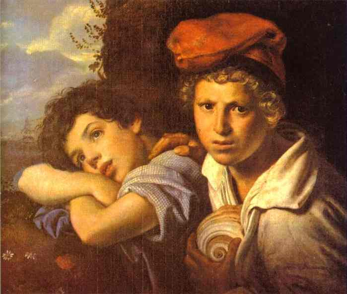 Oil painting:Naples Boys. 1829
