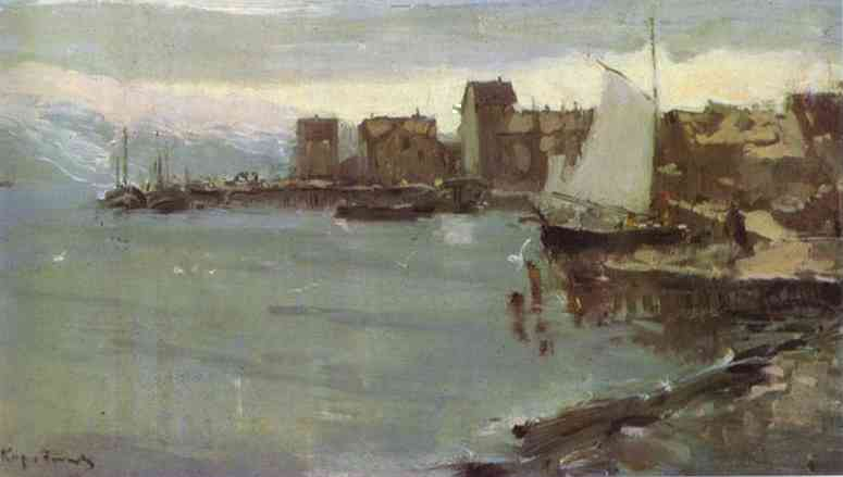 Oil painting: Norwegian Harbour. 1894