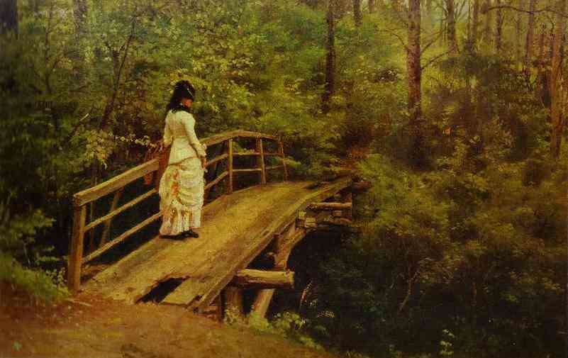 Oil painting:On a Bridge in Abramtsevo. 1879
