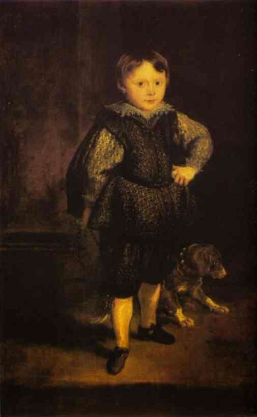 Oil painting:Portrait of Filippo Cattaneo, Son of Marchesa Elena Grimaldi. 1623