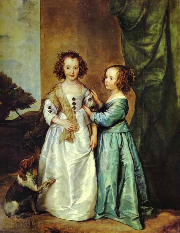 Oil painting:Portrait of Philadelphia and Elizabeth Wharton. Late 1630