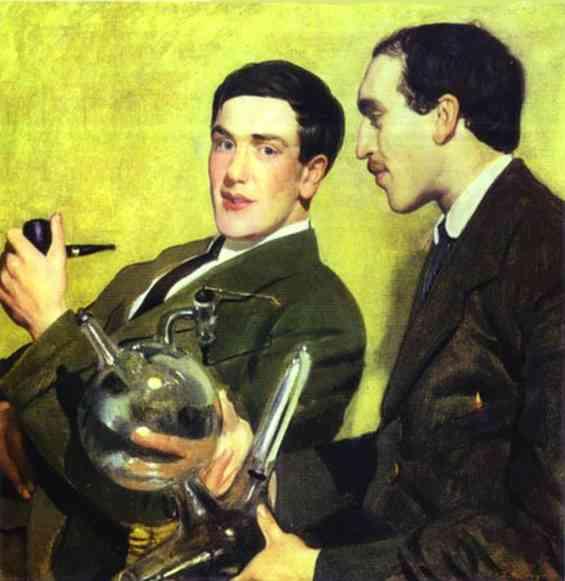 Oil painting: Portrait of Prof. Pyotr Kapitsa and Prof. Nikolai Semyonov. 1921