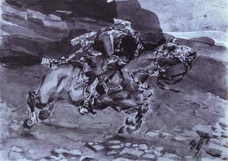Oil painting:Rider. Illustration for The Demon by Mikhail Lermontov. 1890