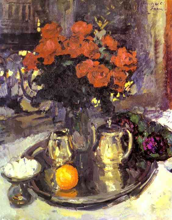 Oil painting: Roses and Violets. 1912