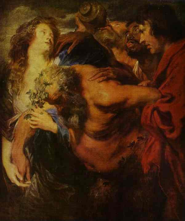 Oil painting:Silenus Drunk. Before 1621