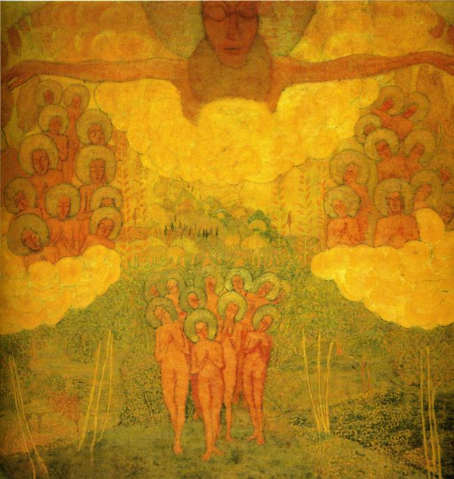 Oil painting:Sketch for fresco. Triumph of the Skies (?). 1907