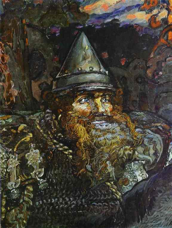 Oil painting:The Bogatyr (Hero). Decorative panel. Detail. 1898