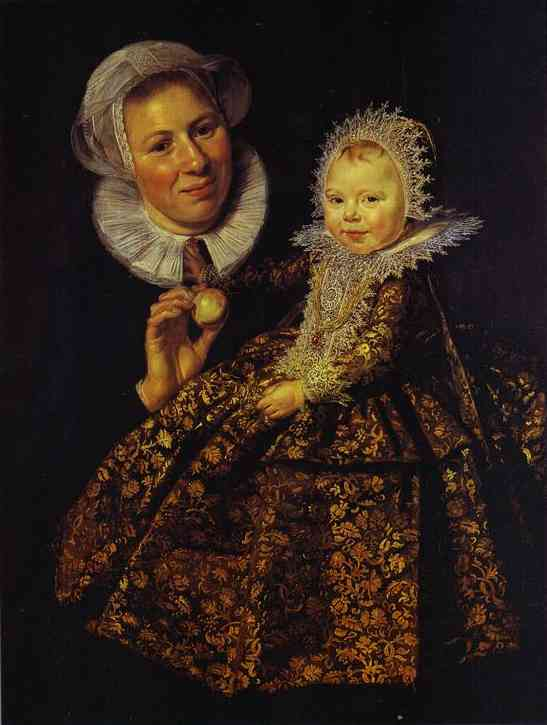Oil painting:The Infant Catharina Hooft (1618-1691) with her Nurse. c. 1619-20