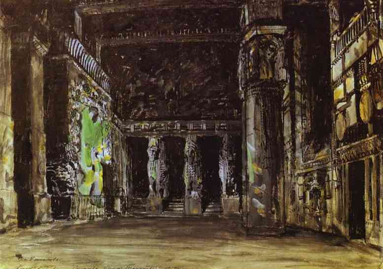 Oil painting: The Temple of Tanit. Sketch of set for A. A