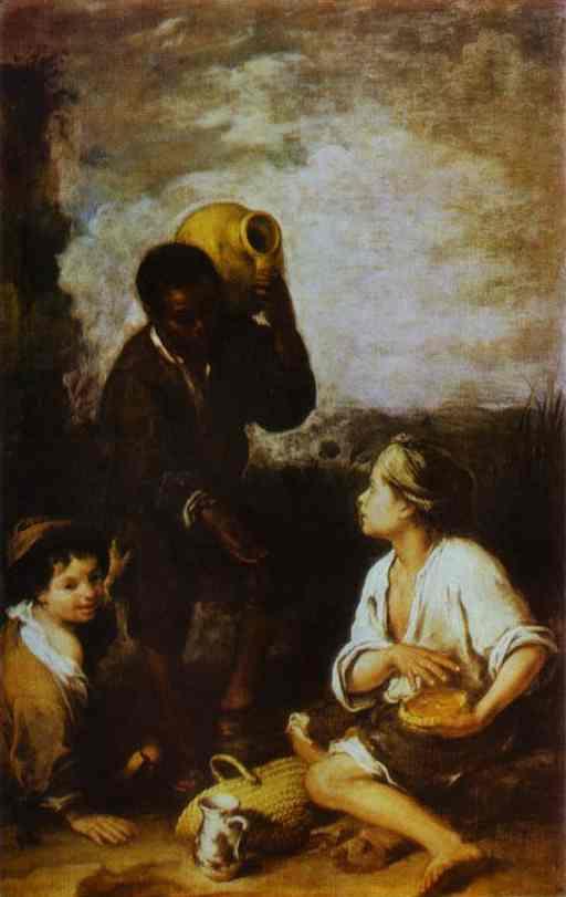 Oil painting:Three Boys. c. 1668