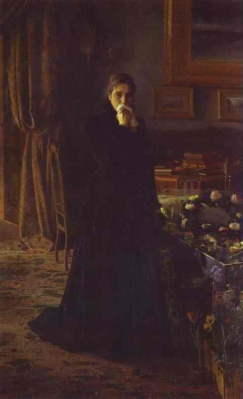 Oil painting:Unconsolable Grief. 1884