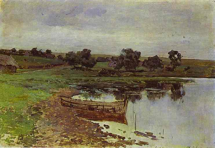 Oil painting:By the Riverside. Study. 1880