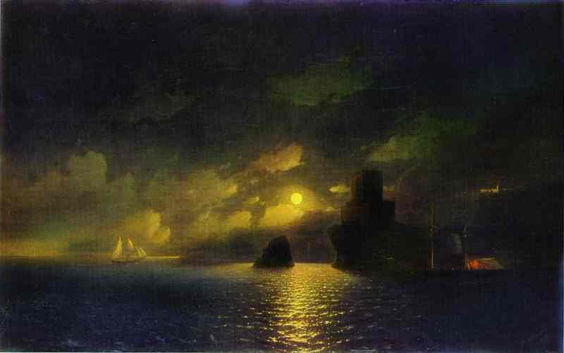Oil painting:Moonlit Night. 1849