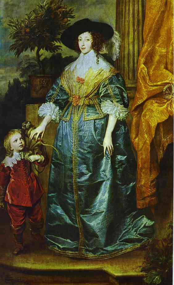 Oil painting:Queen Henrietta Maria with Sir Jeffrey Hudson. 1633