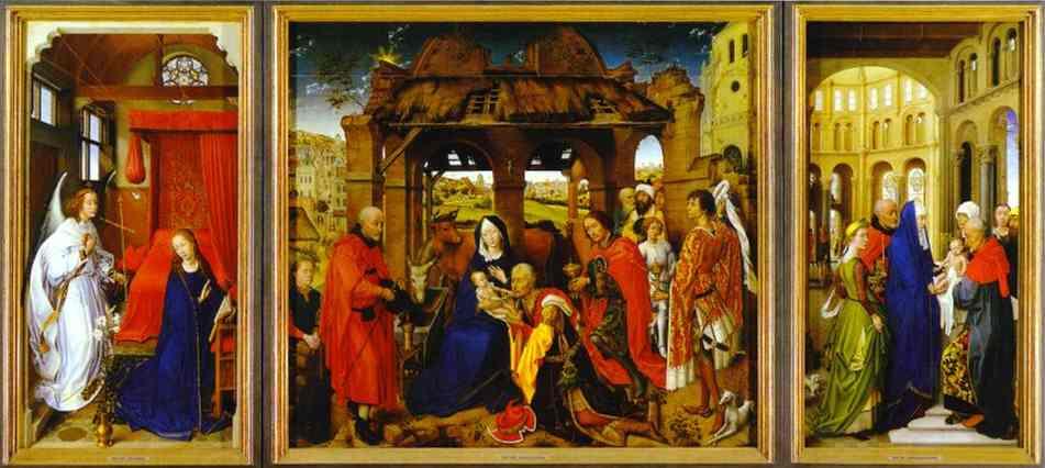 Oil painting:St. Columba Altarpiece. c.1455