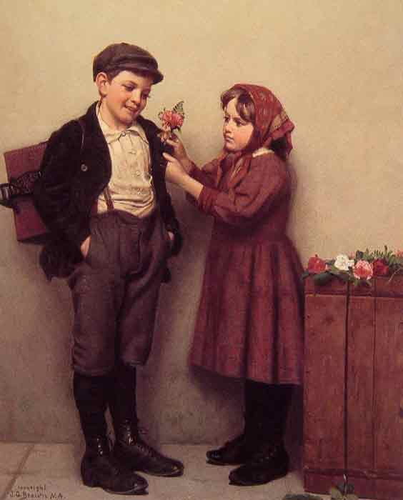 Oil painting for sale:The Button Hole Posy, c.1894