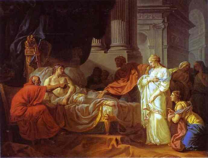 Oil painting:Antiochus and Stratonice. 1774