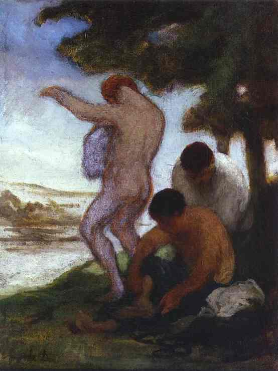 Oil painting:Bathers. c. 1852
