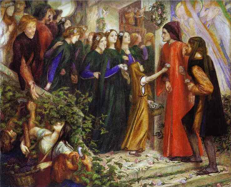 Oil painting:Beatrice Meeting Dante at a Marriage Feast, Denies Him Her Salutation. 1855