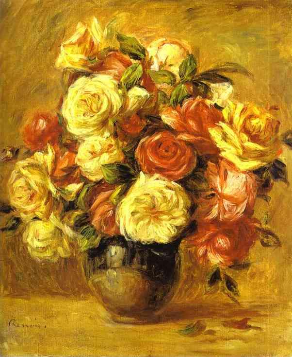 Oil painting:Bouquet of Roses (Bouquet de roses). c. 1909