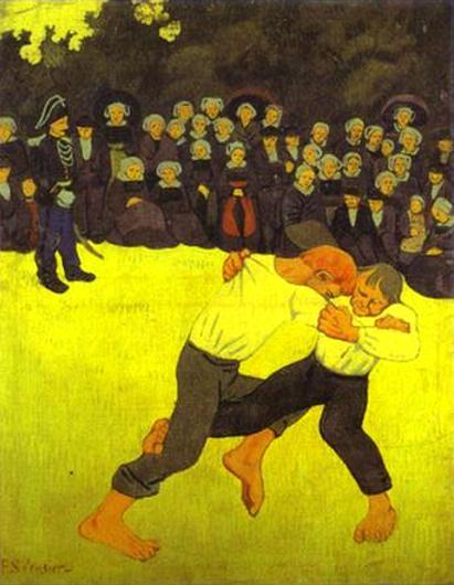 Oil painting:Breton Wrestling. 1890
