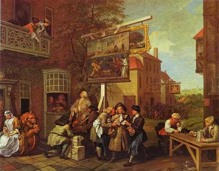 Oil painting:Canvassing for Votes. 1755