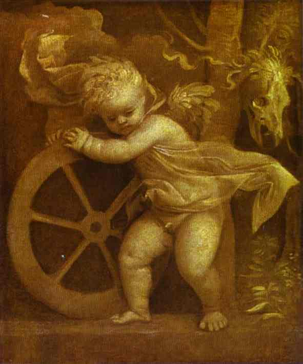 Oil painting:Cupid with the Wheel of Fortune. c.1520