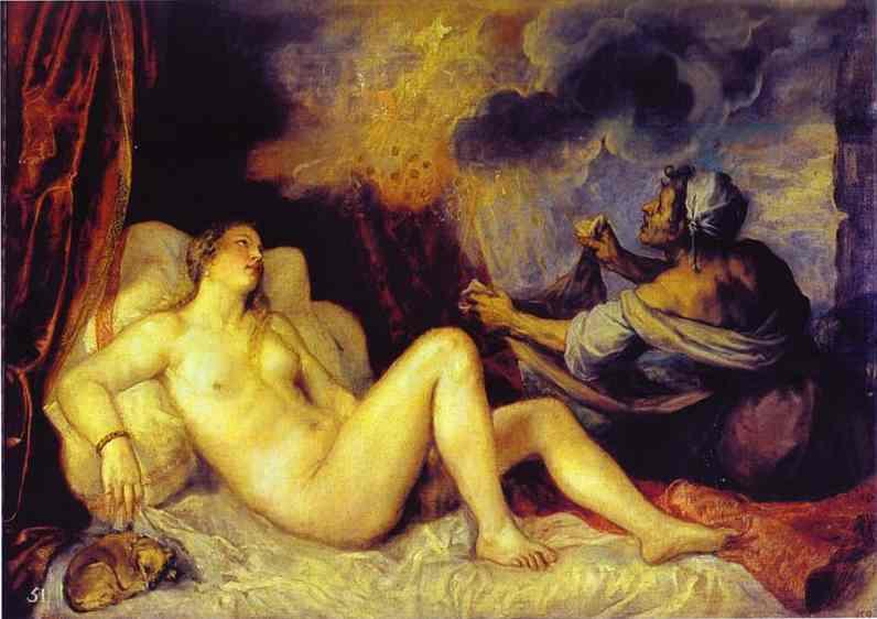 Oil painting:Danae with Nursemaid. 1553
