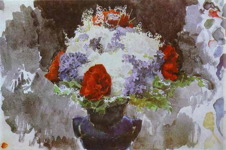 Oil painting:Flowers in a Blue Vase. 1886