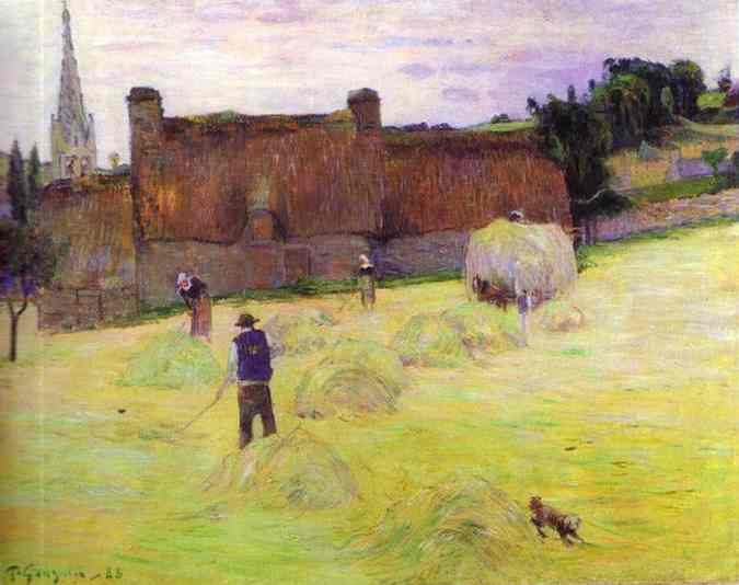 Oil painting:Hay-Making in Brittany. 1888
