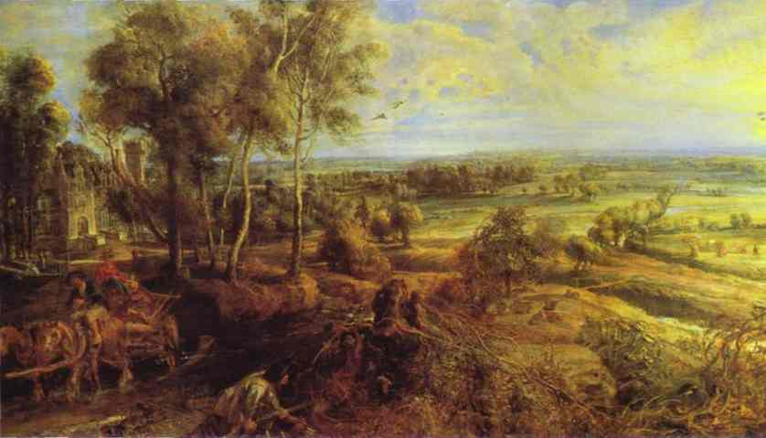 Oil painting:Landscape with the Chateau Steen. 1636