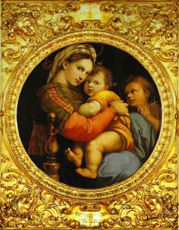 Oil painting:Madonna della Sedia. 1512