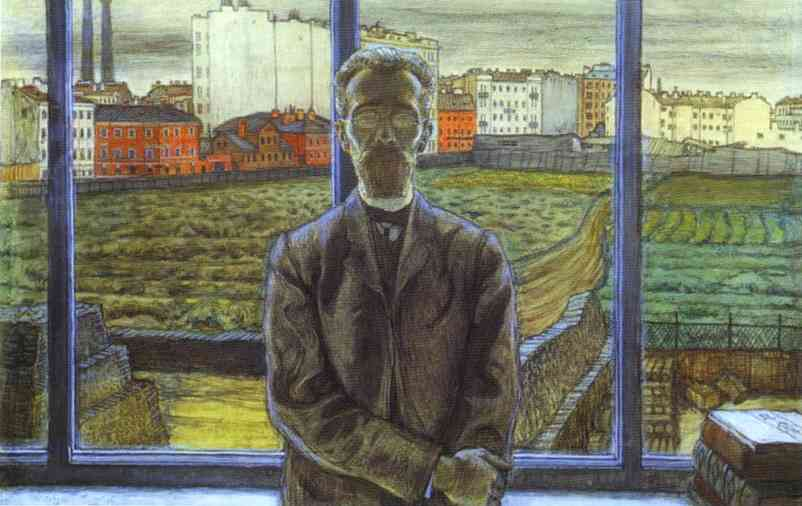Oil painting:Man with Spectacles. Portrait of the Art Critic and Poet Constantin Sunnerberg. 1905