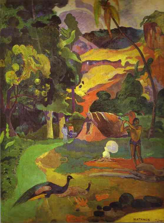 Oil painting:Matamoe (Landscape with Peacocks). 1892