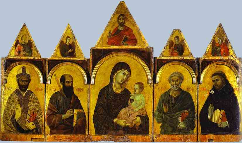 Oil painting:Polyptych No. 28 (The Holy Virgin with the Christ Child and Four Saints). c.1305
